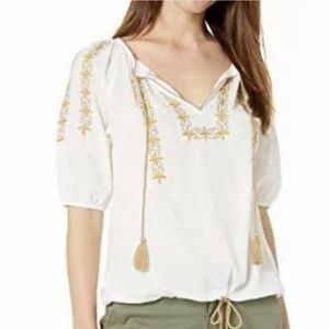 [Lucky Brand] NWT Kelly Embroided Peasant Top
